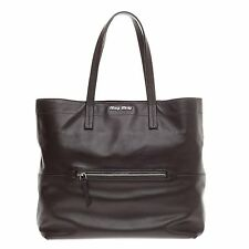 Miu Miu Zip Front Pocket Shopping Tote Leather Large