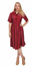 BURGUNDY SILK COTTON DRESSES COLLARED SKIRT SHIRT DRESSES FOR WOMEN WOMENS DRESS