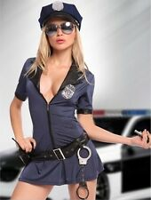 Sexy Black Cop Police Women Costume Officer Outfit Cosplay Fancy Dress S-XXL