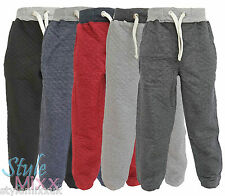 Boys Toddlers Quilted Joggers Kids Cotton Jogging Pants Trackie Bottoms 1-13 YRS