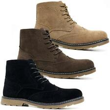 Mens Faux Leather Boots Smart Formal Brogue Military Combat Lace Ankle Shoes Siz