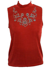 Red Turtle Neck Rhinestone Tank Top Slinky With Plus Size Women Apparel