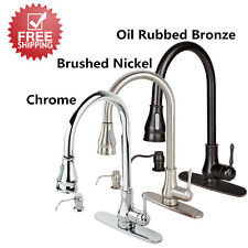 "18""/16"" Pull Down Kitchen Sink Spray Swivel Spout Faucet w/ Soap Dispenser Cover"