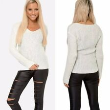 New Ladies Cream Sparkly Jumpers Silver Thread Knitted Womens Tops Size 12-22