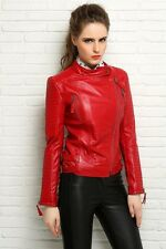 Women Red color  Lambskin Leather  jacket long sleeves