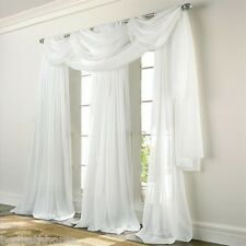 NEW Stylemaster Elegance Voile WHITE Sheer Curtain Panels or Scarf