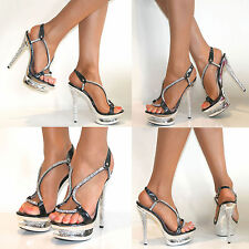 Womens Platform High Stiletto Heels Ladies Slingback Peep Toe Strappy Shoes Size