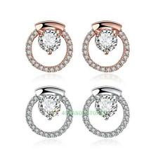 Elegant Fashion Cute Women Lady Girls Plated Gold Ziron Earrings Stud Earrings