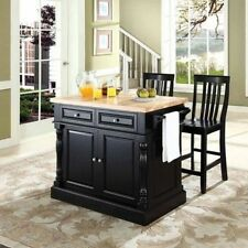 Crosley Furniture Butcher Block Top Kitchen Island with 60cm School House Stools