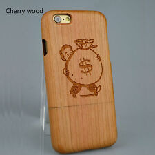 For iPhone 7 6 6s Plus Natural Wooden Wood Bamboo Cherry Custom Name Phone Case