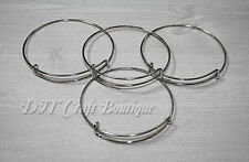 WHOLESALE/BULK LOT Adjustable Silver Tone Bangle Bracelets /DIY /Choose Quantity