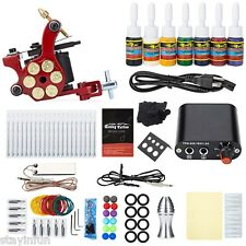 Tattoo Kit Carbon Steel 10 Wrap Coils Shader Machine Gun 20 Needles 8 Colors