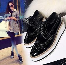 Womens platform Wedge Heels Lace Up oxford brogue wingtip carving leather shoes