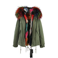 Multi-Color Extra LARGE REAL FUR Lining and FUR Hood Coat Army Jacket Parka