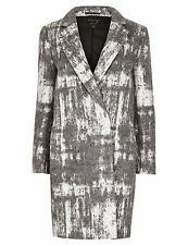 M & S PER UNA SPEZIALE LADIES ITALIAN FABRIC GREY MIX COAT WITH WOOL SIZES 18&20