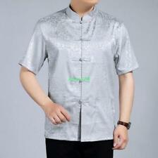 Chinese style faux silk mens short sleeves tang cloth printing summer shirts
