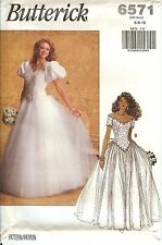 Butterick 6571 Bridal Wedding Gown Dress sewing pattern UNCUT FF vintage NEW OOP