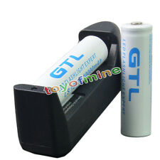 2 x 18650 10000mAh GTL 3.7V White Rechargeable Battery + Charger for Flashlight
