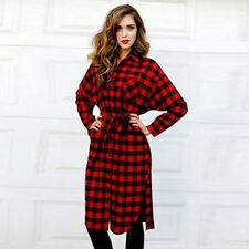Women Long Sleeve Plaid Check Straight Tunic Casual Blouse Shirt Dress +Belt