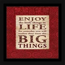 Big Things Abstract Floral Pattern Inspirational Typography Red & Tan, Framed Ca