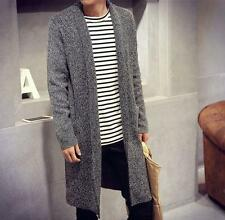 Mens Fashion slim fit knitting button Sweater Cardigan Trench Long Coat outwear