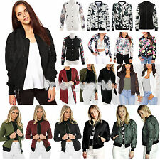 New Womens Floral Bomber Jacket Classic Zip Up Biker Vintage Coat Casual Outfits