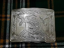 Saltire Lion Rampant Kilt Belt Buckle Chrome Finish/Highland Kilt Belt Buckles