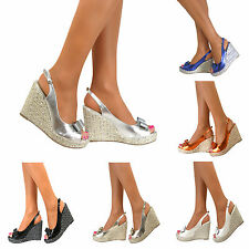 Womens Platform Bow Wedge High Heels Slingback Strappy Open Toe Sandals Shoes