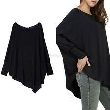 Women Lady Blouse Oversized Batwing Sleeve Cotton Tops Plus Size Pullover Shirt