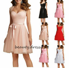Short Lace Formal Ball Gown Evening Party Cocktail Prom Bridesmaid Dress Sz 6-18