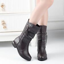 Womens Chic Tassel Zipper Pull On Cowboy Western Mid Calf Boots Shoes