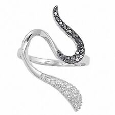 black and white Ladies Snake Ring 925 Sterling Silver Black CZ