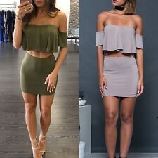 Sexy Womens 2 Piece Bodycon Crop Top and Skirt Sets Bandage Party Cocktail Dress