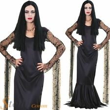 Ladies Morticia Addams Costume Adams Family Fancy Dress Halloween Womens Outfit