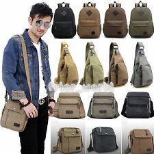 Retro Men Canvas Travel Backpack Rucksack Satchel Crossbody Camping Shoulder Bag