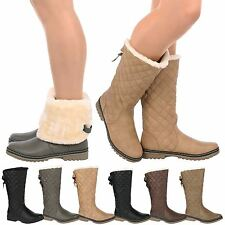 D6Z Womens Ladies Quilted Faux Fur Lined Thick Sole Mid Calf Boots Shoes Size