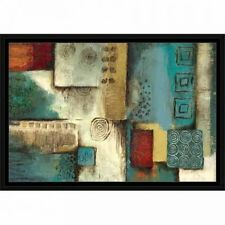 Traditional Abstract Tribal Pattern Panel Painting Blue & Tan, Framed Canvas Art