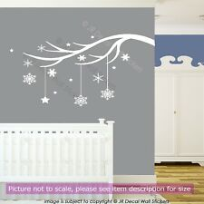 Winter Tree Branch Vinyl Wall Art Sticker Xmas Snowflake Shop Window Decor Decal