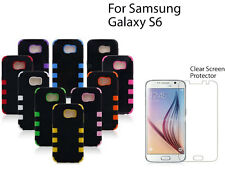 For Samsung Galaxy S6 screen protector & Heavy Duty Hybrid Rugged Hard Case