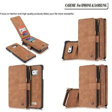 Removable Genuine Leather Wallet Card Holder Flip Case Cover For Samsung+iphone