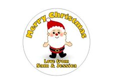 24 Personalised Round Christmas Stickers/Labels 3 FOR 2 Happy Merry Present Yell