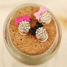 2× Crystal Bow Bling Decor Home Button Stickers For iPhone 4,4S,5,5C,5S,6,6s Hot