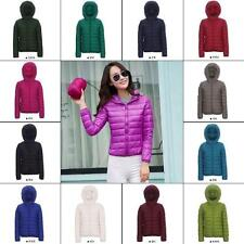 Womens warm Duck Down Ultralight Hooded Puffer Jacket Coat Outdoor Packable sz