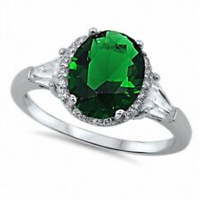 Halo Cocktail Wedding Engagement Ring 925 Sterling Silver 3CT Emerald Russian CZ