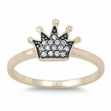Cute Crown Ring 925 Sterling Silver 14K Yellow Gold plated Russian CZ