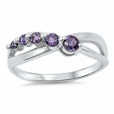 Infinity Crisscross knot Journey Ring 925 Sterling Silver 0.40CT Purple Amethyst