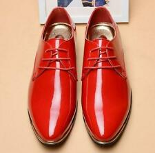 mens patent Leather Pointy Toe Formal Dress Shoes wingtip shoes plus size