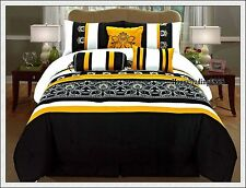 Black Yellow White Embroidery 7pc* KING QUEEN Comforter Set Valance +3 Cushion