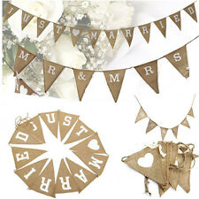 MR&MRS JUST MARRIED Jute Burlap Hessian Bunting Shabby Wedding Party Banner NEW