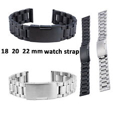 18 20 22mm Solid Stainless Steel Bracelet Watch Band Buckle Link Straight End B2